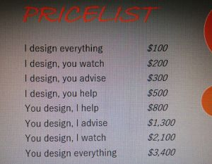 Design pricelist